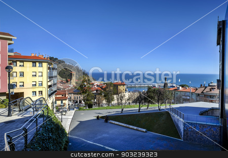 City view stock photo, Beautiful view at the ocean from the city in Spain by TilyoRusev