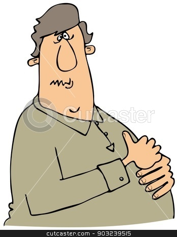 Man with heartburn stock photo, This illustration depicts a man grasping his chest in discomfort from heartburn. by Dennis Cox