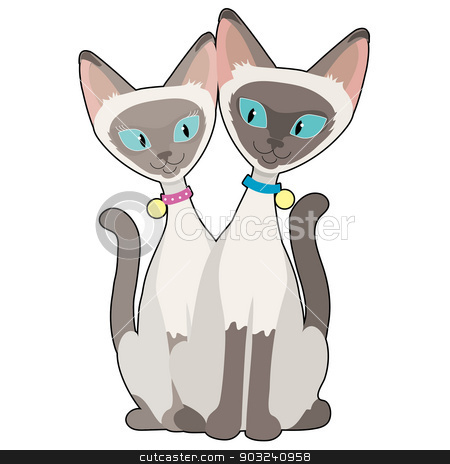 Siamese Cats stock vector clipart, A pair of Siamese cats, one male and one female looking at each other with admiration by Maria Bell