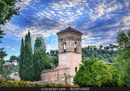 Gallery Alhambra Granada Andalusia Spain stock photo, Gallery Alhambra Granada Andalusia Spain. Alhambra is the last Moorish Moslem Palace that was conquered by King Ferdinand and Queen Isabella in 1492. by William Perry