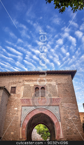 Alhambra Palace Arch Granada Andalusia Spain stock photo, Alhambra Palace Arch Moorish Patterns Granada Andalusia Spain. Alhambra is the last Moorish Moslem Palace that was conquered by King Ferdinand and Queen Isabella in 1492. by William Perry