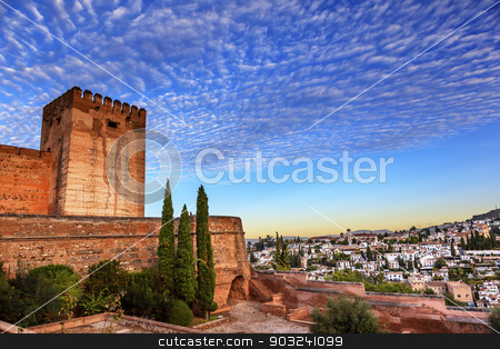 Alhambra Morning Sky Granada Cityscape Churches Andalusia Spain stock photo, Alhambra Castle Morning Sky ityscape Walls Granada Churches Andalusia Spain   by William Perry