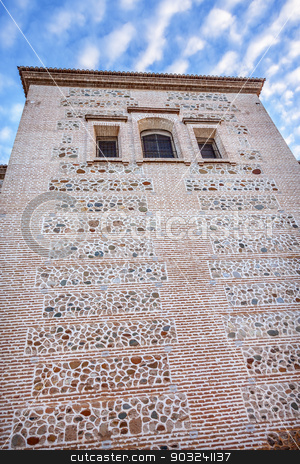 Santa Maria Church Wall Alhambra Granada Andalusia Spain stock photo, Santa Maria Church Wall Alhambra Granada Andalusia Spain. Alhambra is the last Moorish Moslem Palace that was conquered by King Ferdinand and Queen Isabella in 1492. by William Perry
