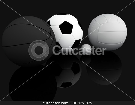 Sports Equipment stock photo, A variety of sports equipment on a black background , 3d illustration by nicolas menijes
