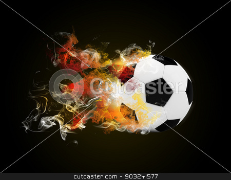 Soccer ball in the color of flame and smoke stock photo, Soccer ball in the color of flame and smoke. Sport concept by cherezoff