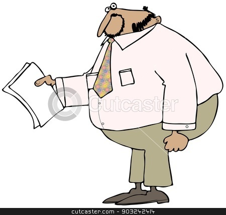 Chubby businessman holding papers stock photo, This illustration depicts a fat businessman holding out some papers. by Dennis Cox