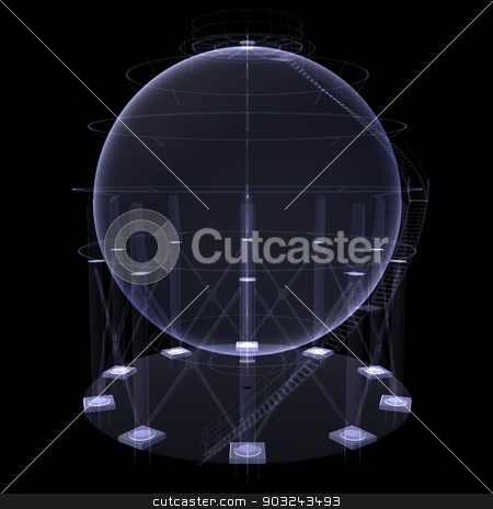 Round oil tank. X-ray render stock photo, Round oil tank. X-ray render isolated on black background by cherezoff