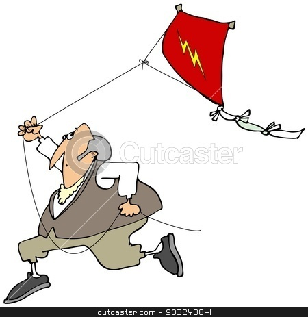 Ben Franklin flying a kite stock photo, This illustration depicts Benjamin Franklin running with a red kite flying behind him. by Dennis Cox