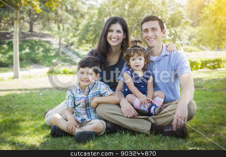 Attractive Young Mixed Race Family Park Portrait stock photo, Attractive Young Mixed Race Family Portrait in the Park. by Andy Dean