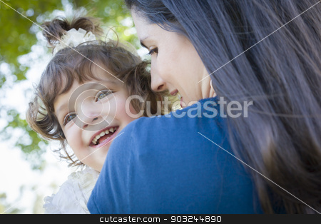 Cute Laughing Baby Girl and Mother in Park stock photo, Young Mother Holding Cute Laughing Baby Girl Outdoors in the Park. by Andy Dean