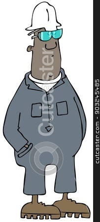 Construction man stock photo, This illustration depicts a black man wearing coveralls and hard hat with hands in his pockets. by Dennis Cox