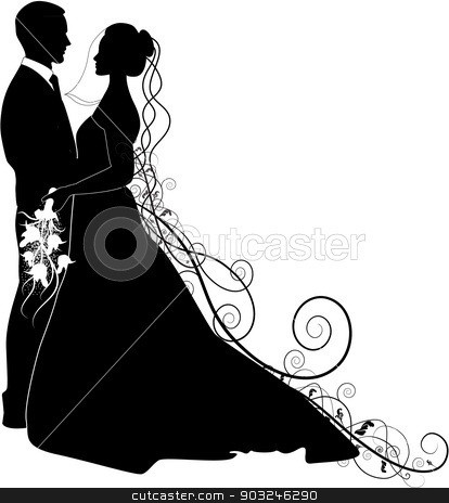 bride and groom stock vector clipart, bride and groom by STAR ILLUSTRATION