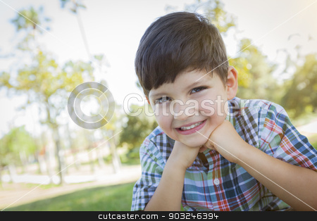 Cute Young Boy Outdoors Portrait stock photo, Cute Young Boy Outdoors Portrait in the Park. by Andy Dean