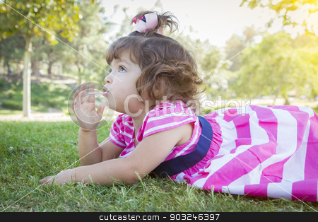 Cute Baby Girl Enjoying Lollipop Outdoors stock photo, Cute Baby Girl Enjoying Her Lollipop Outdoors. by Andy Dean