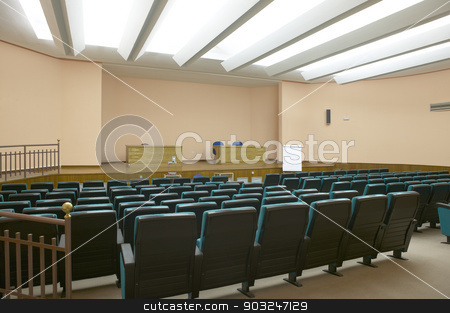 Conference room with white roof and chairs stock photo, Conference room with white roof and chairs. Horizontal by ABBPhoto
