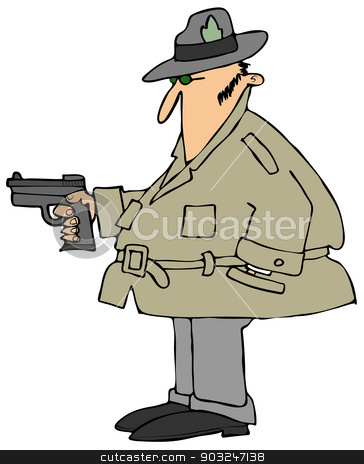 Private eye with a gun stock photo, This illustration depicts a man wearing a raincoat and a fedora pointing a pistol. by Dennis Cox