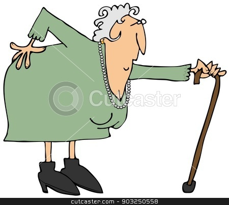 Old woman with a sore back stock photo, This illustration depicts an old woman bent over with an aching back. by Dennis Cox