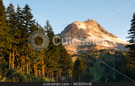 Ski Chair Lift Wild Outdoors Timberline Mt Hood Cascade Mountain stock photo, Sunrise comes to the south side of Mount Hood by Christopher Boswell
