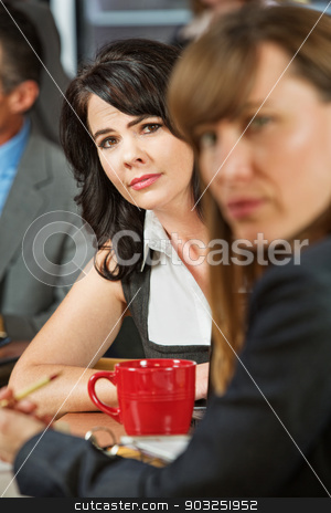 Concerned Women in Cafe stock photo, Pair of serious female executives in restaurant by Scott Griessel