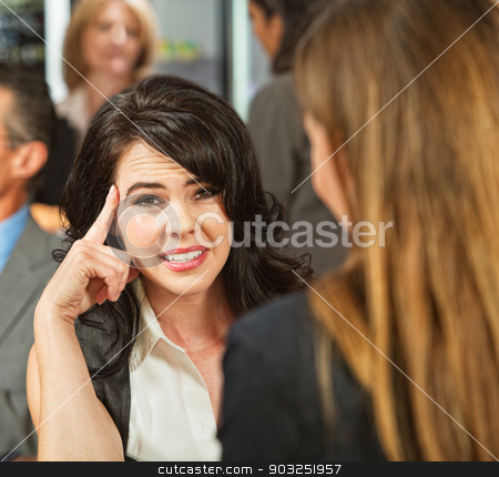 Annoyed Lady in Cafe stock photo, Annoyed Caucasian female with friend talking in restaurant by Scott Griessel