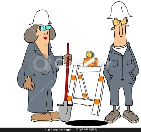 Construction workers stock photo, This illustration depicts a male and female construction worker standing by a hole with a barricade in back. by Dennis Cox