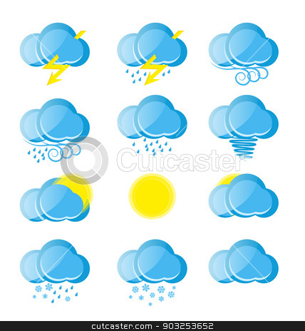 weather icons stock vector clipart, Vector weather icons on white background by Miroslava Hlavacova