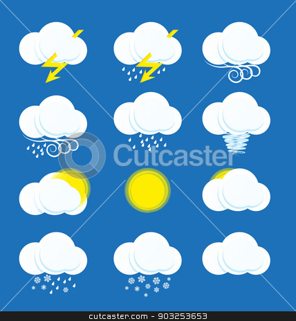 weather icons stock vector clipart, Vector weather icons on blue background by Miroslava Hlavacova