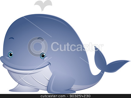 Whale stock vector clipart, Illustration Featuring a Cute Whale with Water Spouting from its Blowhole by BNP