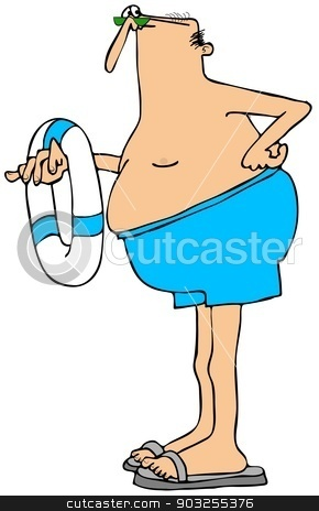 Long legged swimmer stock photo, This illustration depicts a long legged man in swim trunks and holding a life preserver. by Dennis Cox