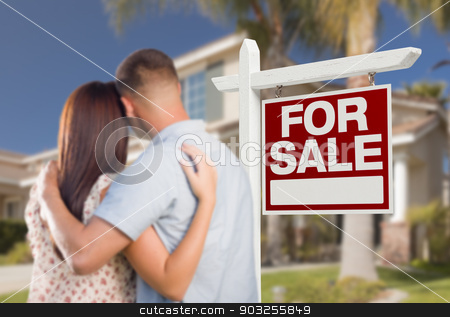 For Sale Real Estate Sign, Military Couple Looking at House stock photo, For Sale Real Estate Sign and Military Couple Looking at Nice New House. by Andy Dean