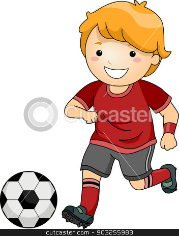 Soccer Boy stock vector clipart, Illustration of a Little Boy in Soccer Gear About to Kick a Soccer Ball by BNP