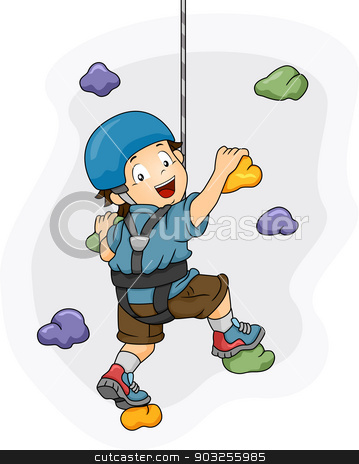 Wall Climbing Boy stock vector clipart, Illustration of a Little Boy Dressed in Wall Climbing Gear Scaling a Wall by BNP
