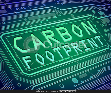 Carbon footprint concept. stock photo, Abstract style illustration depicting printed circuit board components with a carbon footprint concept. by Samantha Craddock