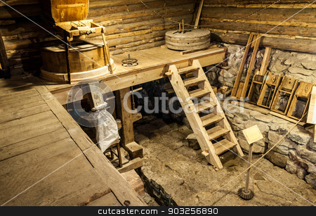 wooden mill inside stock photo, wooden mill inside with equipment by Karol Czinege