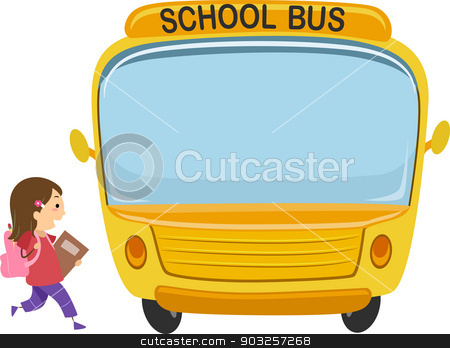 School bus kid. Stock vector