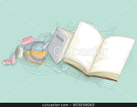 Education Design of Books  stock vector clipart, Illustration of Education Design of Books with Open Blank Book by BNP