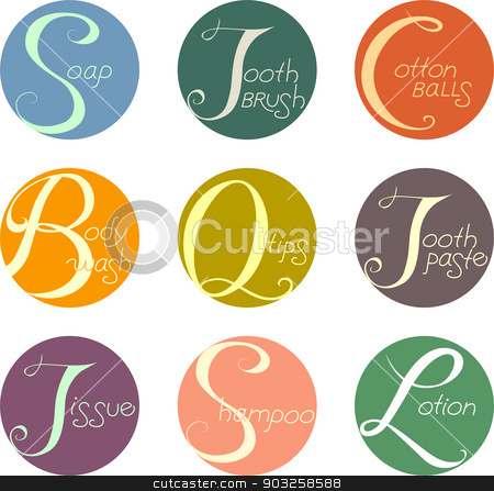 Bath Labels stock vector clipart, Illustration Featuring Ready to Print Labels with Bath and Grooming Related Texts by BNP