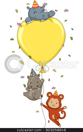 Birthday Safari Balloon stock vector clipart, Illustration of Cute Jungle Animals Holding on to a Big Party Balloon with space for text by BNP