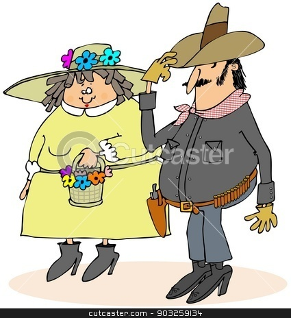 Howdy ma'am stock photo, This illustration depicts a cowboy tipping his hat to a woman wearing a bonnet. by Dennis Cox
