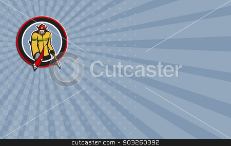 Business card Fireman Carry Axe Hook Pike Pole Circle stock photo, Business card showing illustration of a fireman fire fighter emergency worker holding a fire axe and hook pike pole viewed from front set inside circle done in retro style. by patrimonio