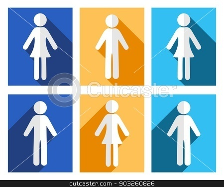 Man and woman icons stock vector clipart, Man and woman flat design colorful icons by blumer
