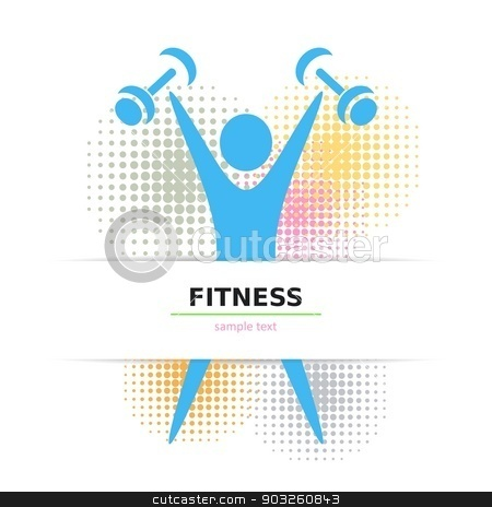 Exercising figure stock vector clipart, Colorful fitness card with figure and halftone design by blumer
