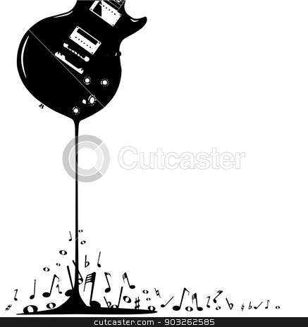 Bubbling Musical Notes stock vector clipart, An electric guitar pouring out musical notes isolated on a white background. by Kotto