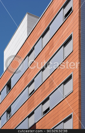 Modern building facade with ceramic coating parts stock photo, Modern building facade with ceramic coating parts. Vertical by ABBPhoto