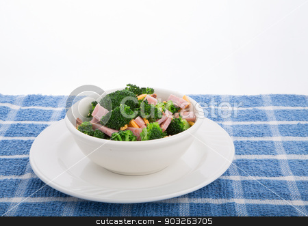Salad of Broccoli Ham and Cheese stock photo, A fresh salad of green broccoli, sliced ham and grated cheddar cheese by Darryl Brooks