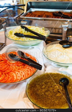 Condiments for Hot Dogs stock photo, Condiments for hamburgers and hot dogs on a buffet by Darryl Brooks