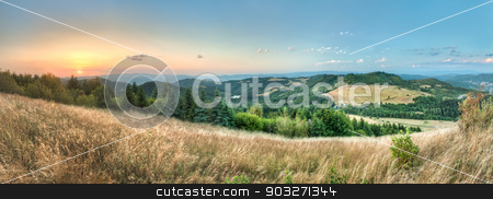 landscape, view from Paradajs towards Vtacnik mountain stock photo, landscape sunset, view from Paradajs towards Vtacnik mountain by Karol Czinege