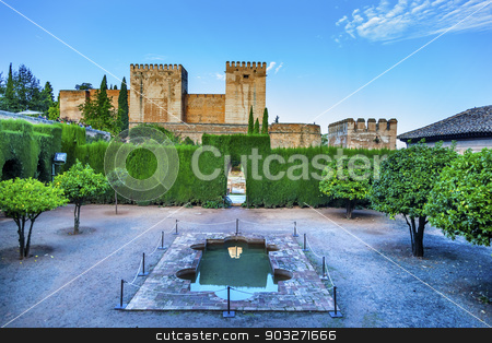 Alhambra Wall Towers Fountain Garden Granada Andalusia Spain stock photo, Alhambra Wall Towers Garden Green Hedge Fountain Granada Andalusia Spain   by William Perry