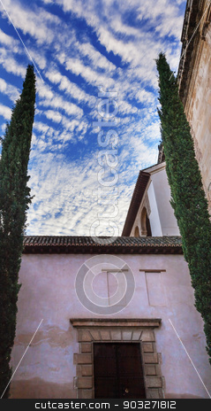 Alhambra Moorish Courtyard Morning Sky Granada Andalusia Spain stock photo, Alhambra Moorish Courtyard Morning Blue Sky Granada Andalusia Spain   by William Perry