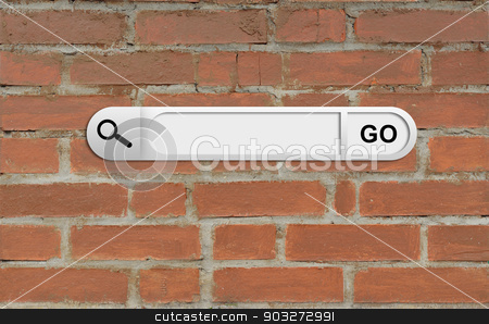Search bar in browser stock photo, Search bar in browser. Brick wall as backdrop by cherezoff